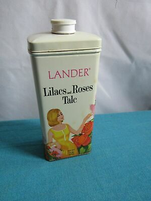 Vintage Lander One Pound Lilacs and Roses Talc Tin Prop Set Display Piece