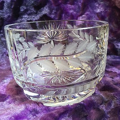 DRESDEN Crystal Cut Glass Bowl Leaves Flowers Signed Heavy