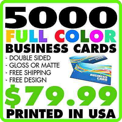 5,000 Custom Full Color Business Cards + Free Design Free Shipping