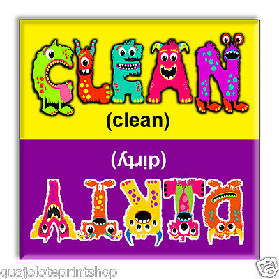 Clean Dirty Dishwasher Magnet Flip Sign Kitchen - Funny Scary Monster Letters
