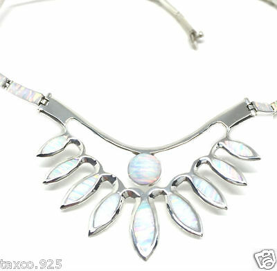 Taxco Mexican 950 Sterling Silver Deco Floral Opal Necklace Mexico