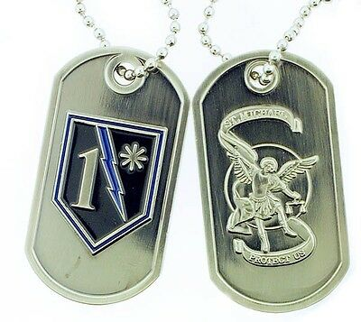 1* Shield St. Michael Brushed Steel Dog Tag
