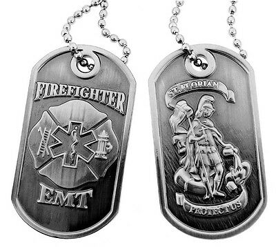 Firefighter EMT Saint Florian Brushed Steel Dog Tag