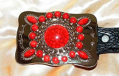 Navajo Indian style red and gold colour belt buckle (rare buckle)