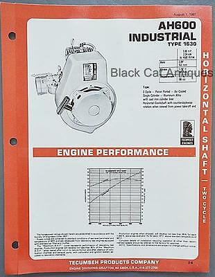 1981 Tecumseh Products Engine Specifications Brochure USA Model AH600 Industrial
