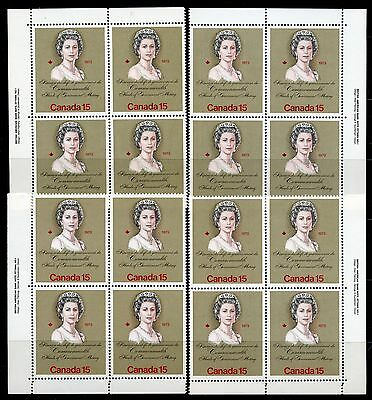 Weeda Canada 621 VF mint NH M/S of PBs, 1973 Royal Visit, on dull paper CV $18