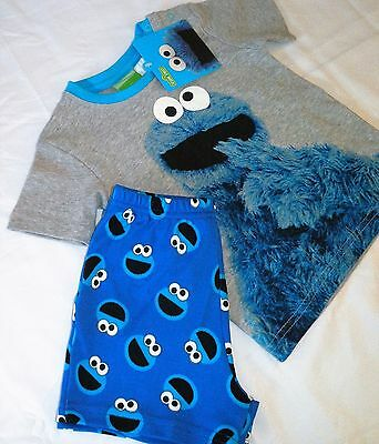 Cookie Monster...Sizes 0, 1, 2 New Licensed Pyjamas PJ's, New/Tag, Sesame Street