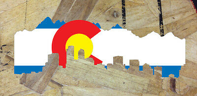 CO Colorado State Flag Denver Skyline Sticker Decal Skyline Cutout- 6""