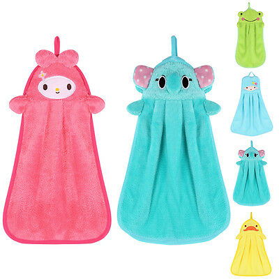Cute Comfortable Soft Plush Cartoon Animal Hanging Hand Drying Wipe Hooded Towel