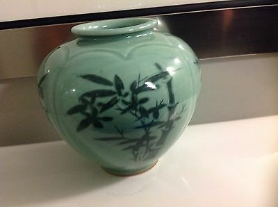Amazing Detail  Antique-Japanese Celadon Vase /pottery/jar-Signed Must See Wow!