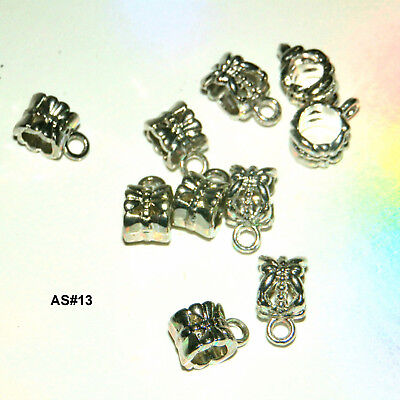 10 EUROPEAN ANTIQUE SILVER BAIL BEADS SPACERS CONNECTORS FOR CHARMS 11 x 8mm