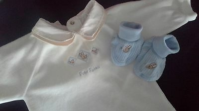 PETER RABBIT velour jumper bootees s00 embroidered cotton blend