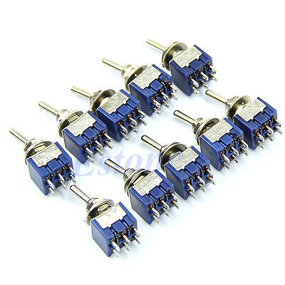 New Useful 5pcs 6-Pin 6A 125VAC DPDT ON-ON Switch Mini Toggle Switches