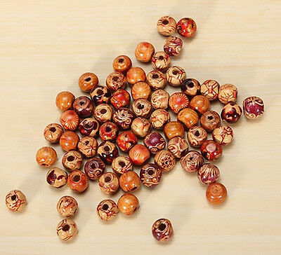 100pcs 10mm Findings Loose Jewelry Making Hot New Round Beads Wood Mixed Charms