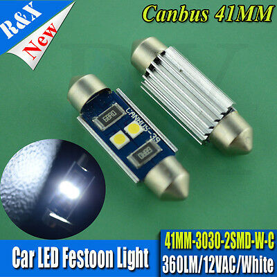 1x41mm Interior Dome Car Bulb Festoon LED 200LM SMD 3030 Canbus Error Free White