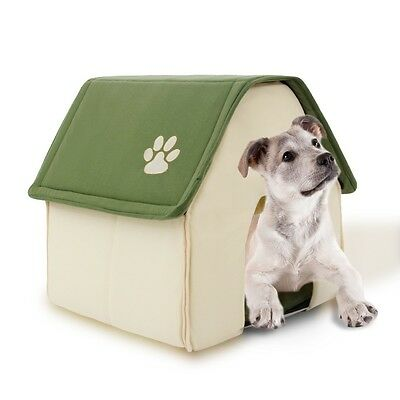 Indoor Kennel Folding Dog House Small Pet Home Soft Warm Cozy Portable Puppy Bed