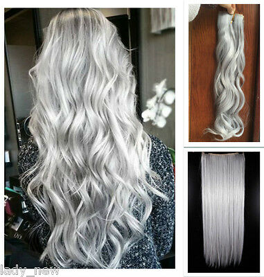 Straight Curly Wavy Clip in Hair Extensions One Piece Hair Grey Purple Blue Pink