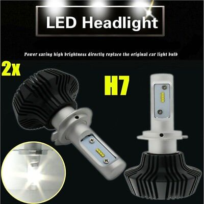 2x  H7 Plug 80W 8000LM LED Headlight Bulbs Kit Low Bulb 6500K High Power
