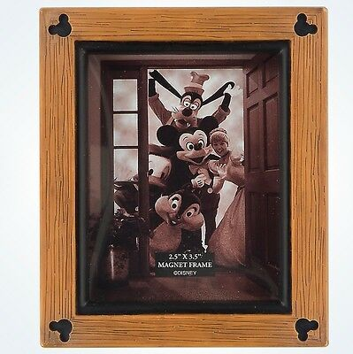 Disney Parks Mickey Mouse Icons Wood 2.5x3.5 Photo Picture Frame Magnet New
