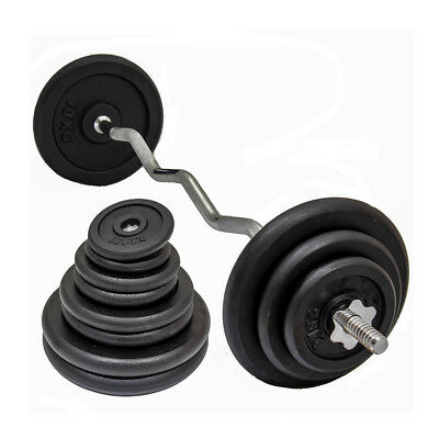BAR SET EZ/EASY ARM/BICEP CURL LIFTING BAR with HEAVY DUTY CAST IRON GYM WEIGHTS