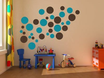 Solid Polka Dot Circle Wall Decals Stickers Easy Peel -n- Stick 18pc 5-2inch