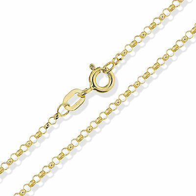 "9Ct Solid Yellow Gold 16"" 18"" 20"" Round Rolo Belcher Chain Link Pendant Necklace"