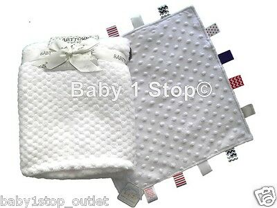 2 Piece Baby Blanket Set Waffle Blanket and Comforter Taggy Toy Gift Set Newborn