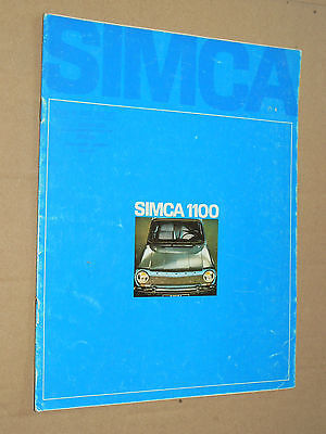 Catalogue SIMCA 1100 -1968- prospectus,brochure, prospekt
