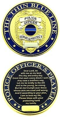 Thin Blue Line Shield Police Officer Prayer Challenge Coin - Individual