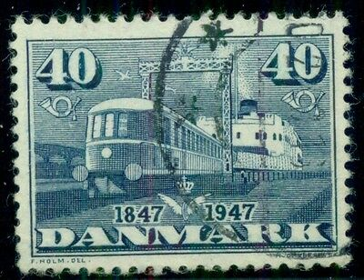 "DENMARK #303v (327v) 40ore blue, ""Double printing of ferry railing"" variety used"