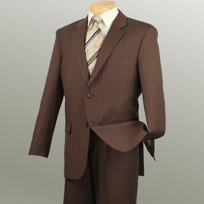 New! Business Suit Toffee Men's Fashion Classic Fit Suits Pin Stripe 2Rs16