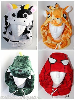 Kids Adults Winter Warm Hat Snood Scarf 2in1 Boys Girls Spider-Man Dinosaur UK