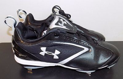 UNDER ARMOUR NWT Black/Silver Bomber Low ST Metal Baseball Cleats Shoes sz 13