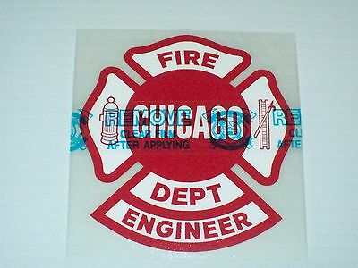 """Chicago Fire Department Decal Maltese Engineer 4"""""""