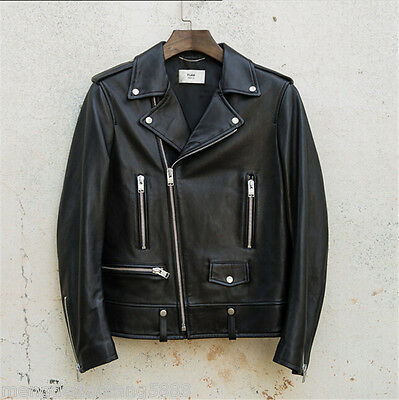Mens Black Real Leather Jacket Vintage Slim Fit Genuine Leather Jacket Factory D