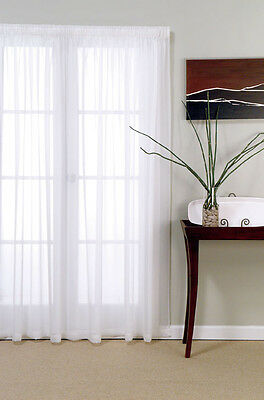 NEW WHITE VOILE SHEER READYMADE CURTAIN in Packet - 4mts Wide 213cm DROP