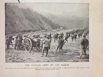 Italian Army On The March 1915 WW1 Vintage Print Photo