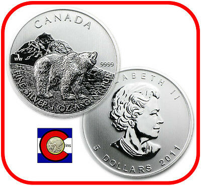 2011 Canada 1 oz Silver Maple Leaf Grizzly Coin -- minimal spots, in airtite