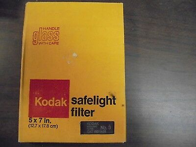 VINTAGE Kodak Safelight Filter 5x7 Glass