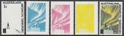 Stamps AAT 1966 Antarctic 1c Aurora colour trials set of 5, only 6 sets known