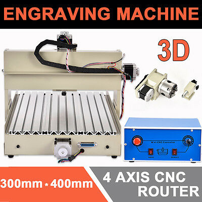 CNC Router 3D Desktop Engraver 3040T 4Axis Engraving Drilling and Milling Machin