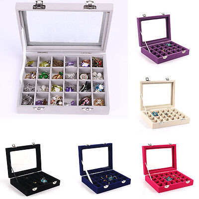 Organizer Storage Box Holder Earring Glass Jewelry Ring Show Display Velvet