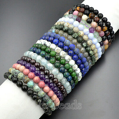 "8mm Natural Gemstones Round Beads Stretch Bracelet 7.5"" Mens Womens Yoga Jewelry"