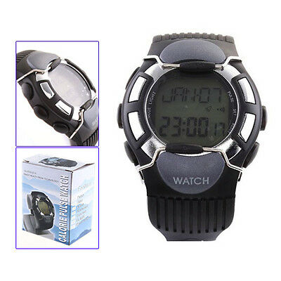 10X(Black Sport Pulse Heart Rate Calorie Counter Watch with Monitor DW