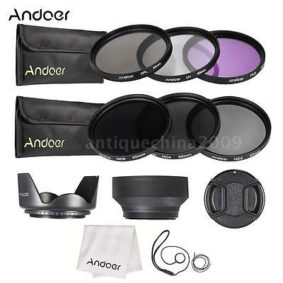 55mm UV CPL FLD ND (2 4 8) Lens Filter Kit Set Pouch + Hood for Canon Nikon A0J2