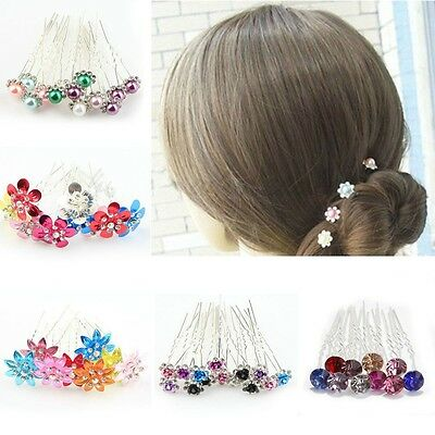 10 20pcs Rose Flower Crystal Wedding Party Bridal Prom Star Hair Pin Clips