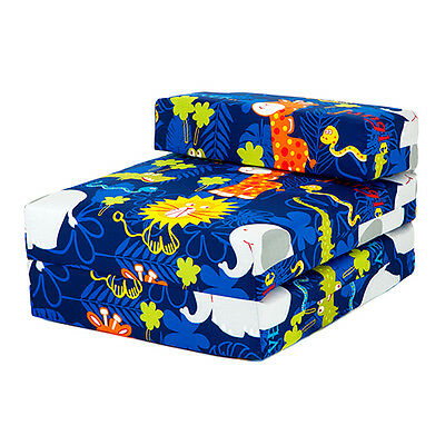 Children's Z Bed Fold Out Chair Jungle Animals Mattress Sleepover Kids Bed