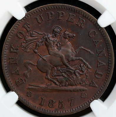 1857 Bank of Upper Canada Penny PC -6D NGC UNC Rare Coin