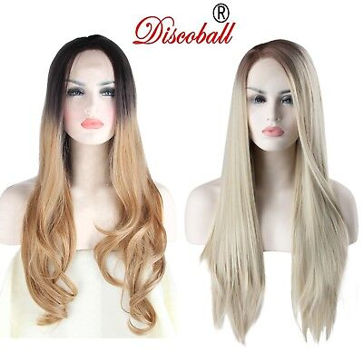 UK Women Ladies Heat Resistant Lace Front Natural Looking Long Wavy Straigh Wig