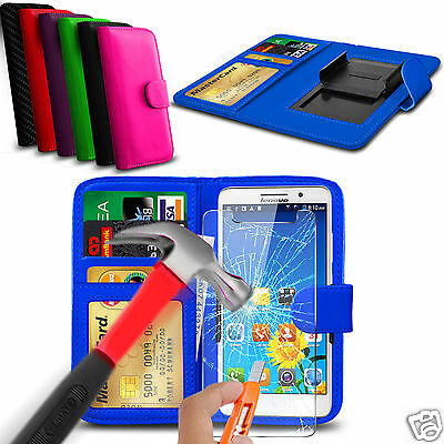 For BLU Studio C Super Camera - Glass & Clip On PU Leather Wallet Case Cover